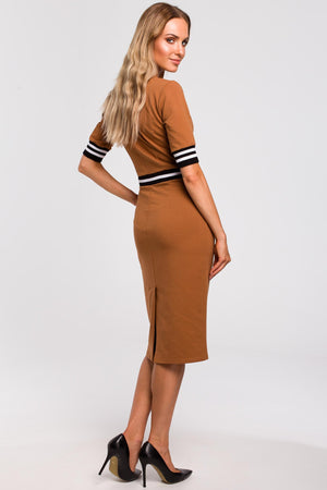 Caramel Cotton Pencil Dress With Stripe Ribbed Details - So Chic Boutique