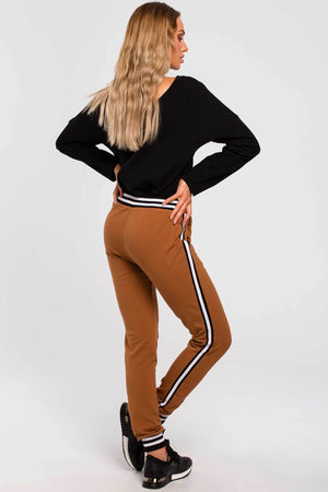Caramel Joggers With Stripe Details - So Chic Boutique