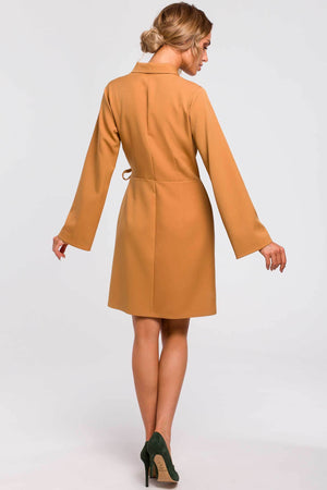 Cinnamon Wrap Blazer Dress With Wide Sleeves - So Chic Boutique