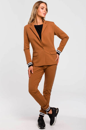 Cotton Caramel Blazer With Stripe Ribbed Cuffs - So Chic Boutique