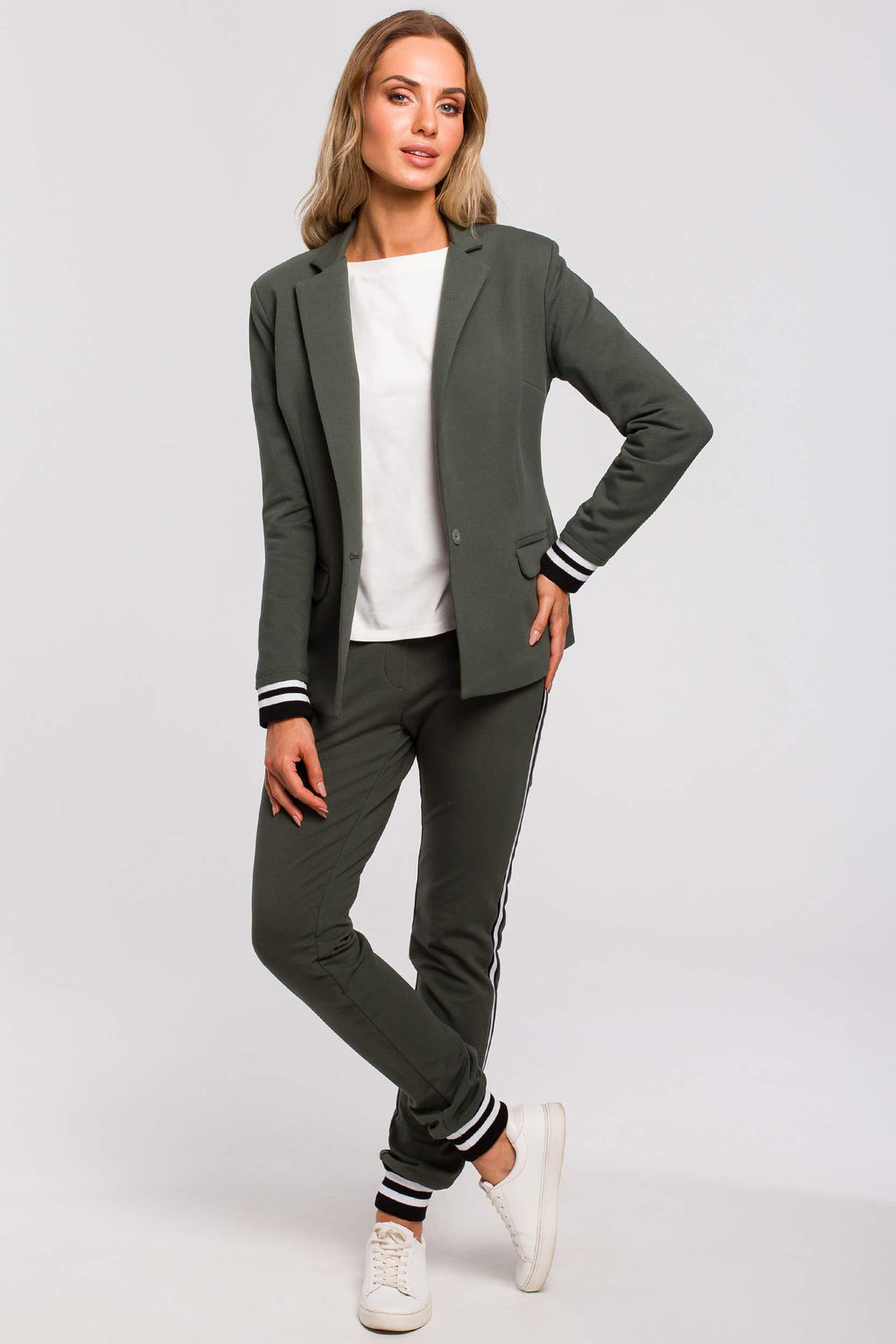 Cotton Khaki Blazer With Stripe Ribbed Cuffs - So Chic Boutique