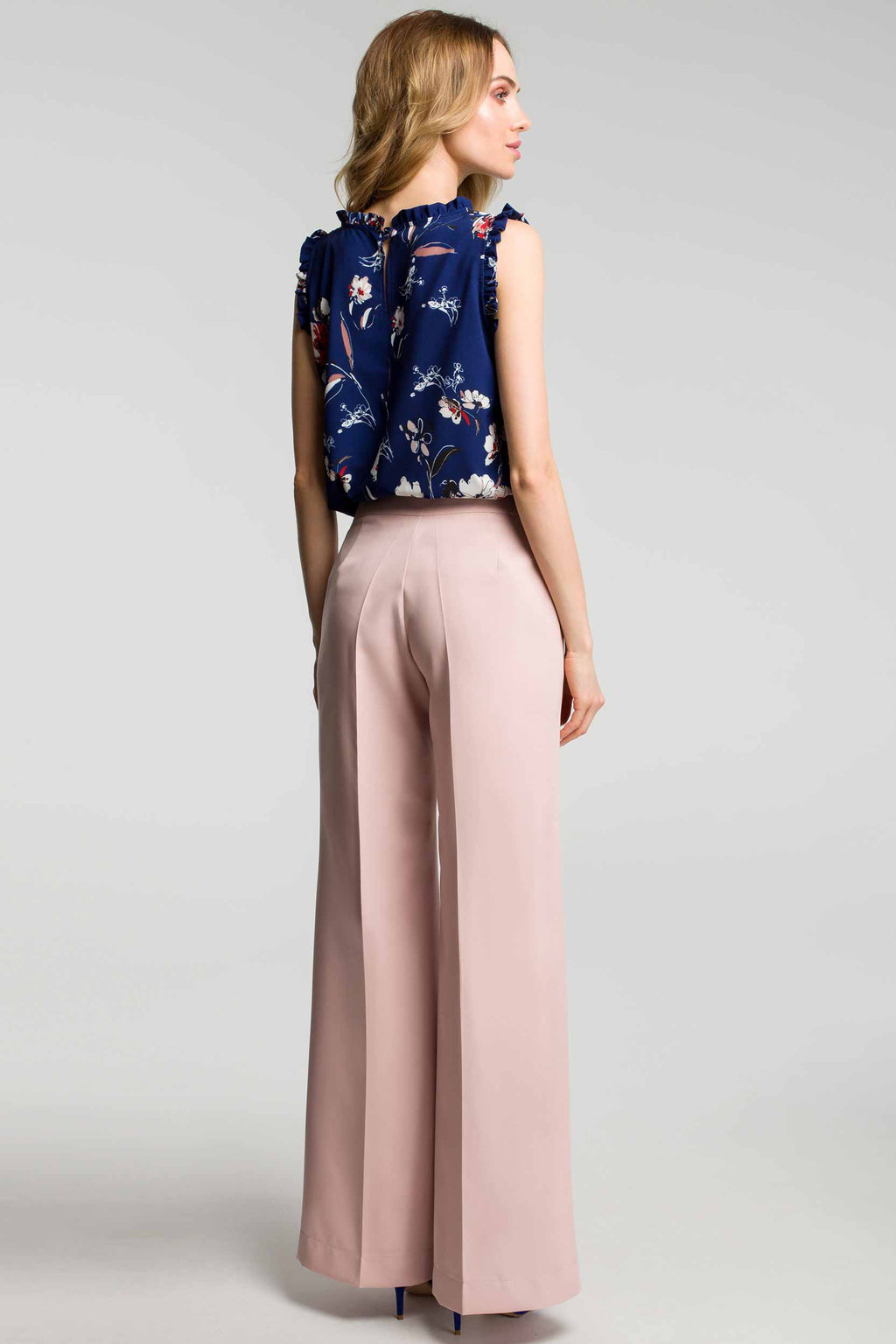 Creased Wide Leg Powder Pink Trousers - So Chic Boutique
