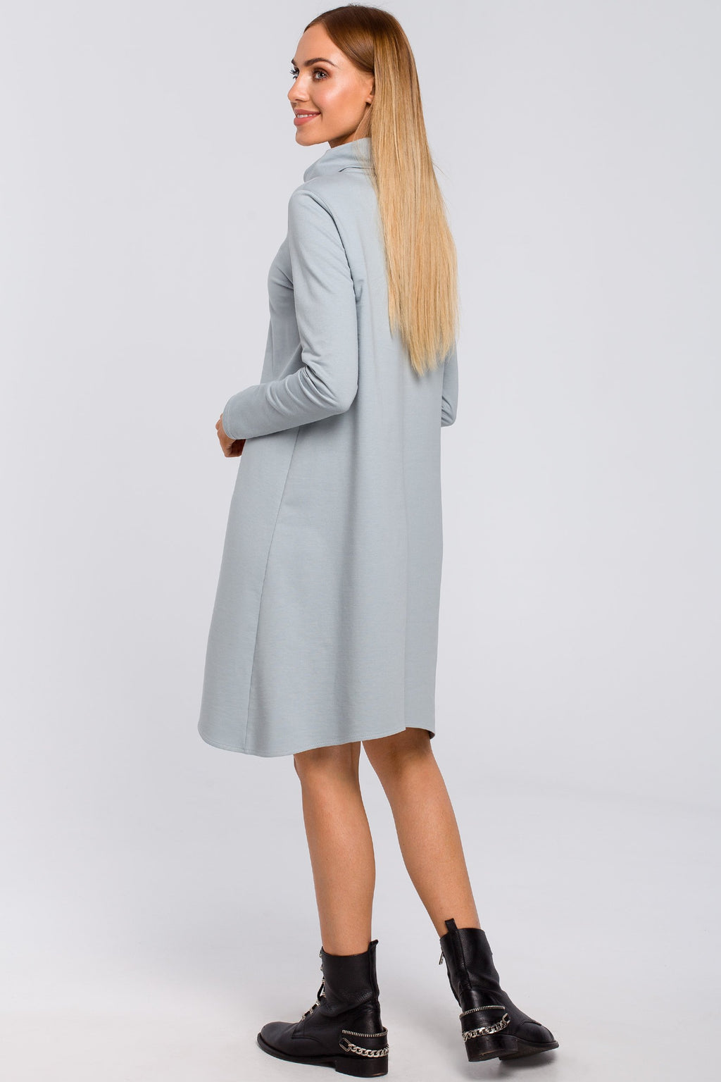 Dove Grey Cotton Turtleneck Trapeze Dress - So Chic Boutique