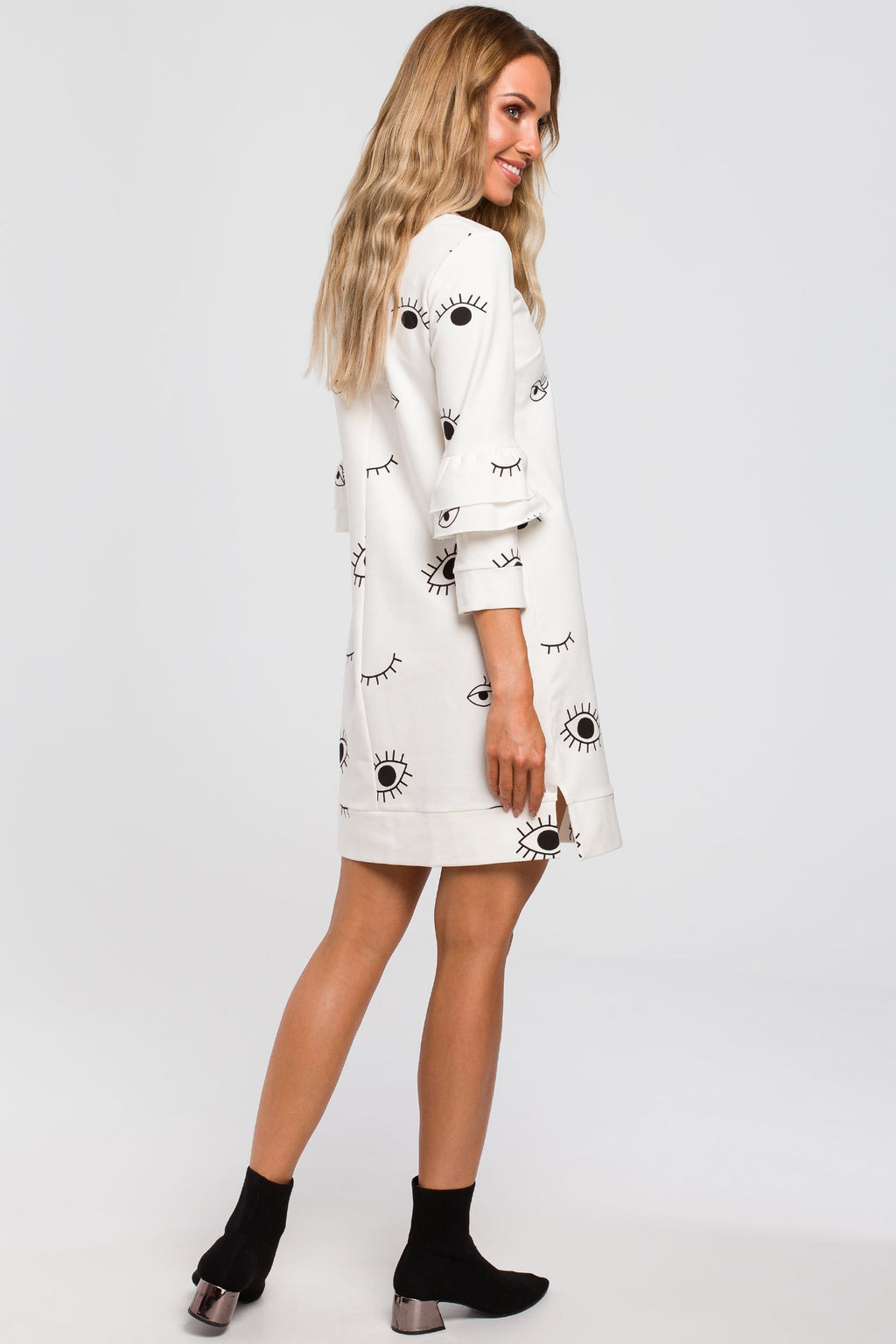 Eye Print A Line Ecru Dress With Ruffle Sleeves - So Chic Boutique