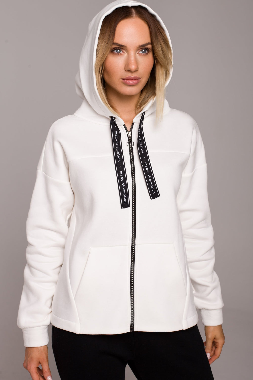 Ecru Hoodie With A Zip - So Chic Boutique