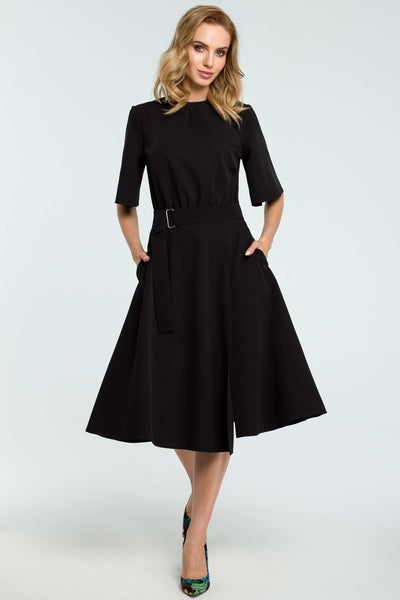 1122c87a69 Fit And Flare Short Bell Sleeve Black Dress – So Chic Boutique