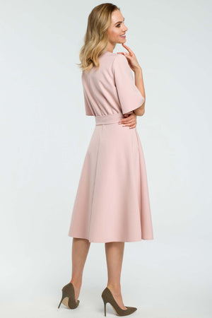 Fit And Flare Short Bell Sleeve Powder Pink Dress - So Chic Boutique