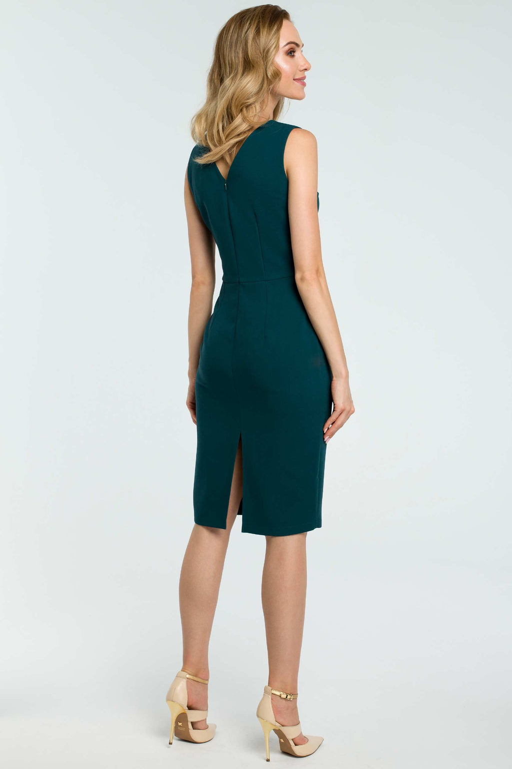 Green Cocktail Pencil Dress With Asymmetric Neckline - So Chic Boutique