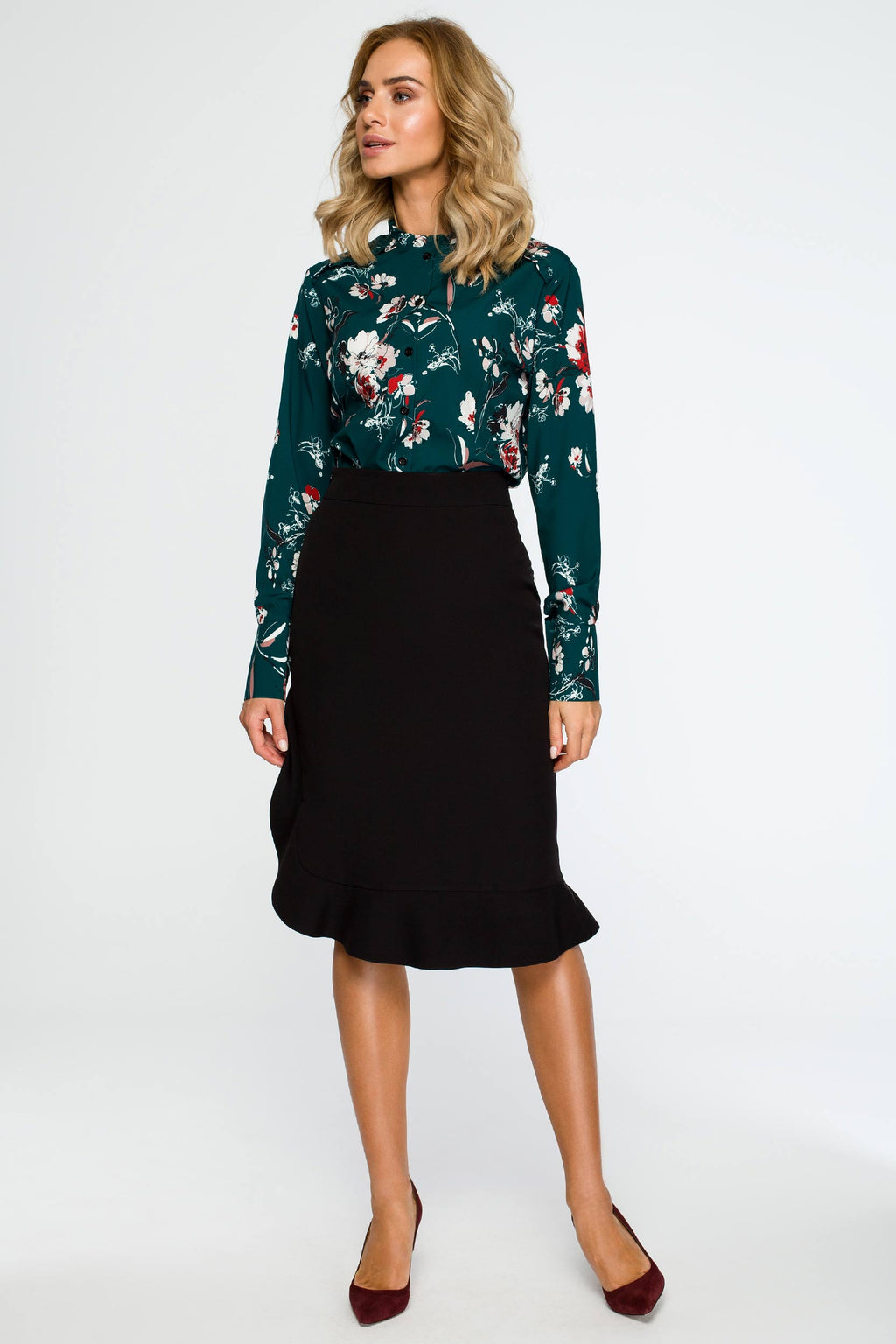Green Floral Ruffled Neck Shirt - So Chic Boutique