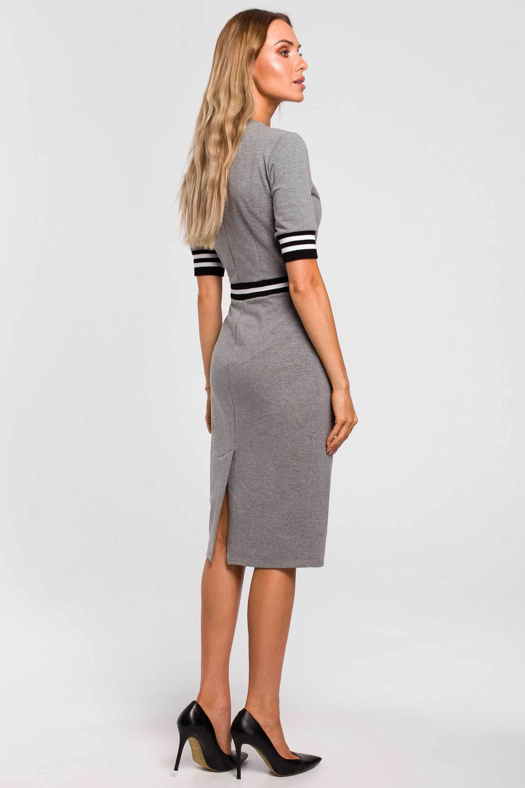 Grey Cotton Pencil Dress With Stripe Ribbed Details - So Chic Boutique
