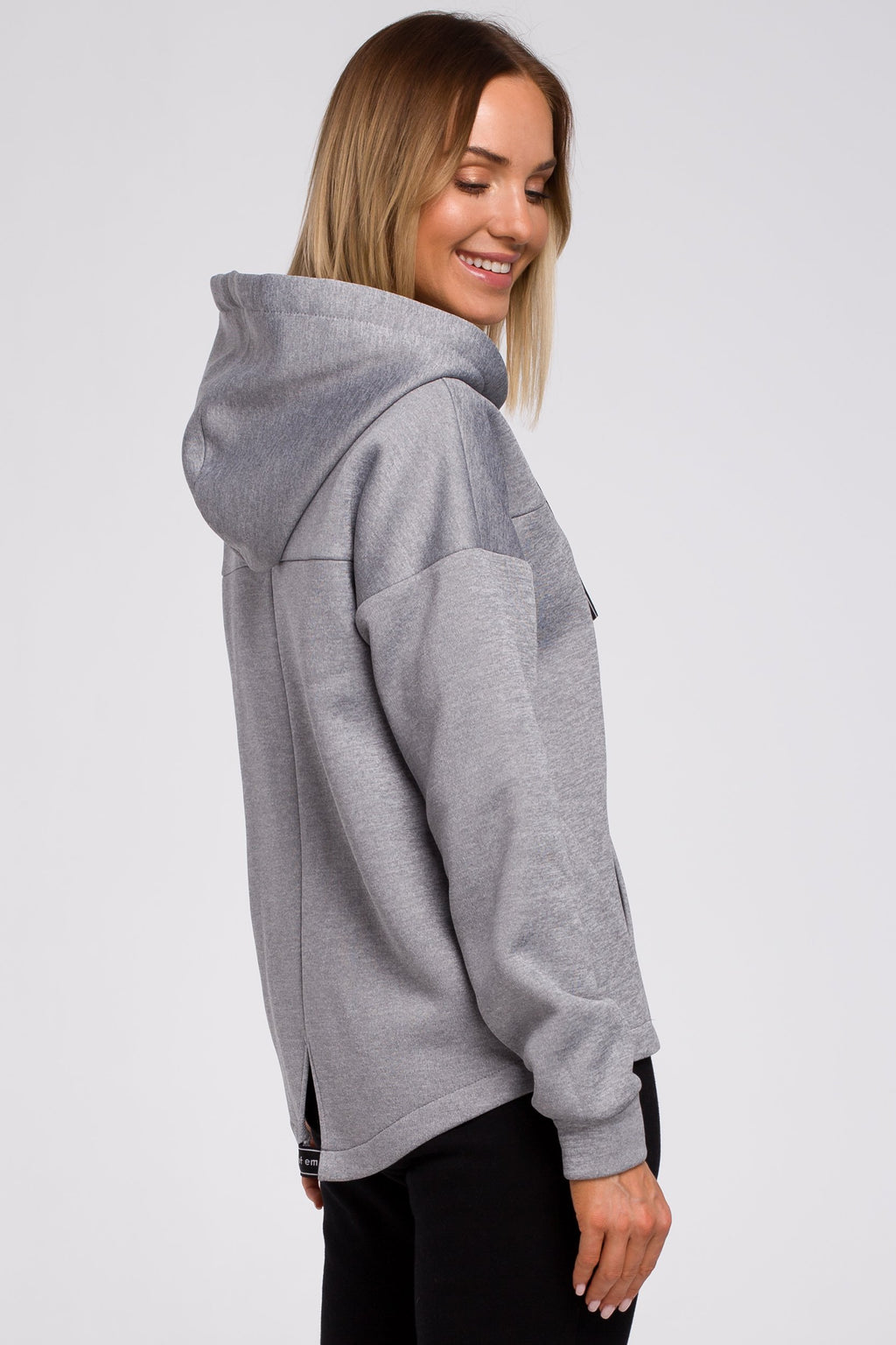 Grey Hoodie With A Zip - So Chic Boutique
