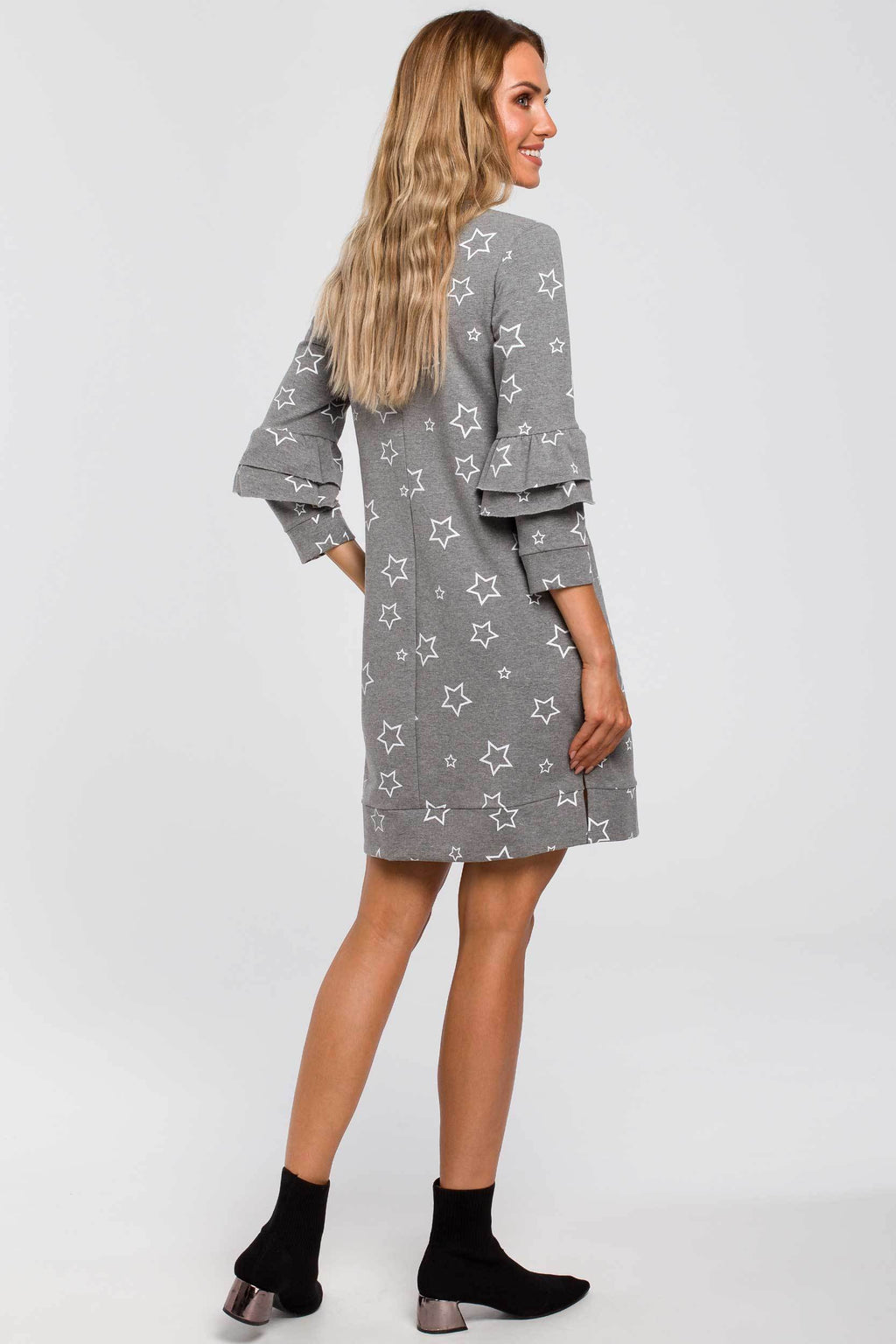 Star Print A Line Grey Dress With Ruffle Sleeves - So Chic Boutique