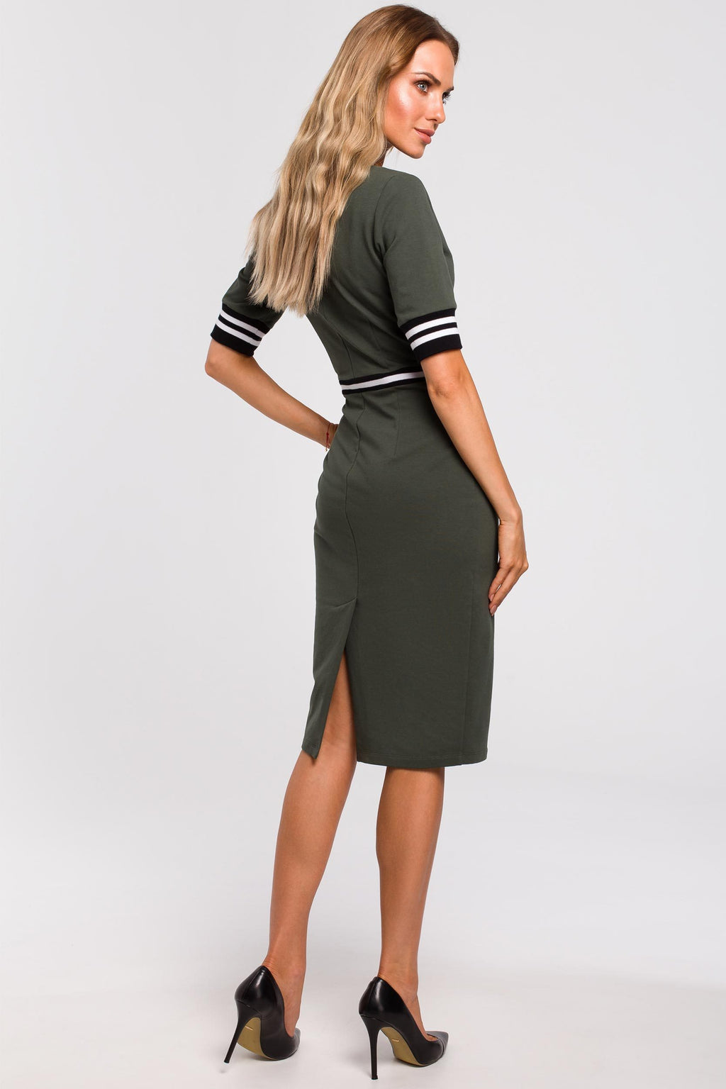 Khaki Cotton Pencil Dress With Stripe Ribbed Details - So Chic Boutique