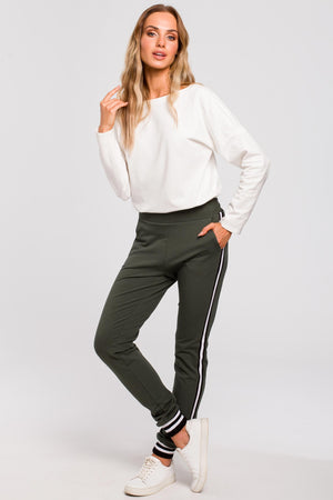 Khaki Joggers With Stripe Details - So Chic Boutique