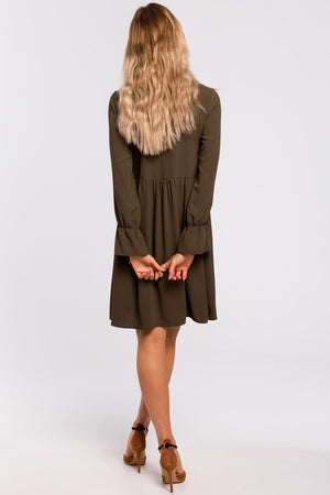 Khaki Loose Dress With Tied Bell Sleeves - So Chic Boutique