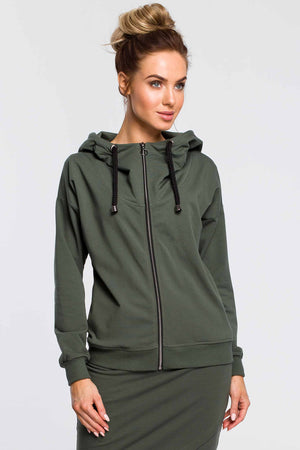 Khaki Zip Up Hoodie - So Chic Boutique