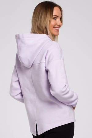 Lilac Hoodie With A Zip - So Chic Boutique