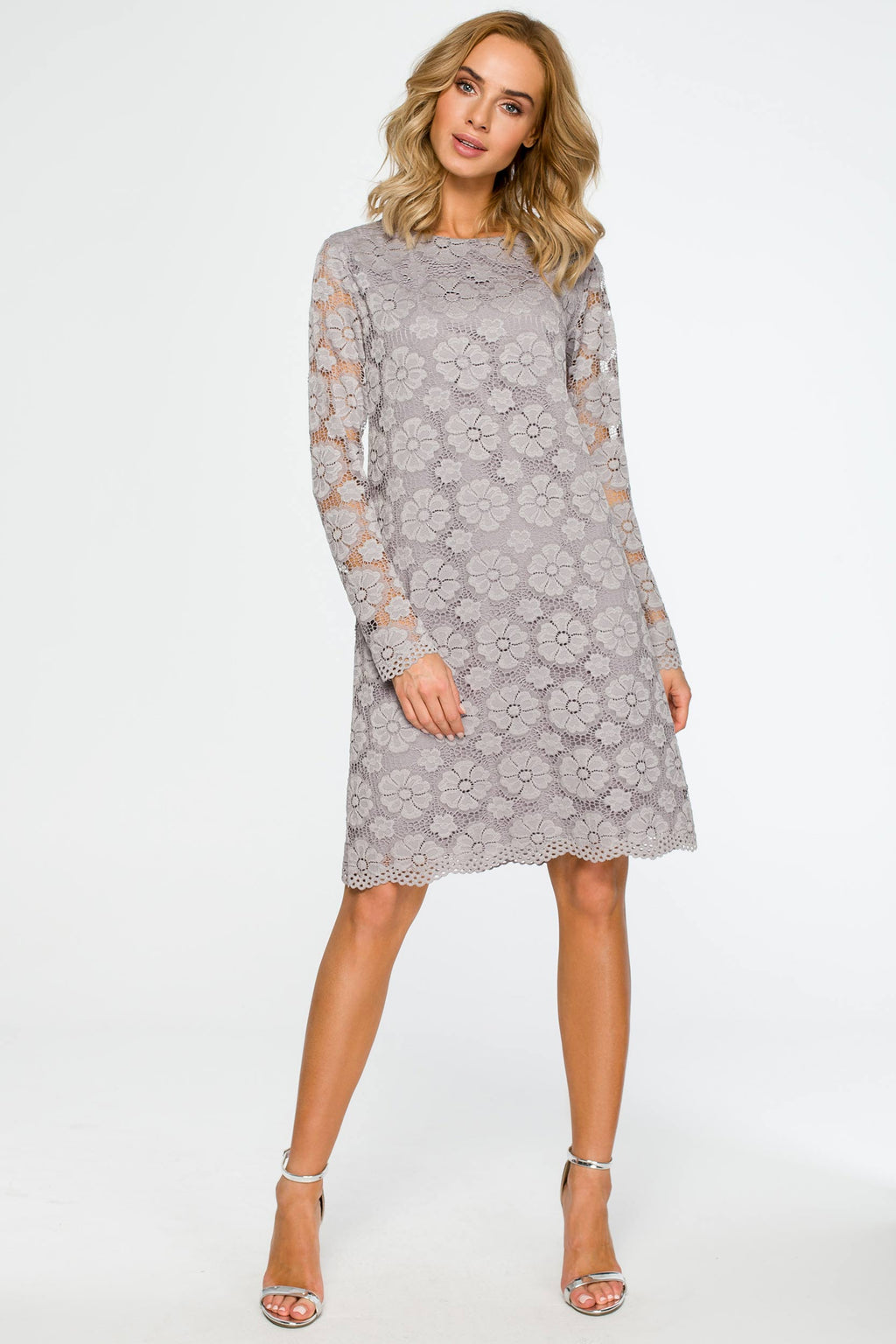 Long Sleeve Grey Lace Dress - So Chic Boutique