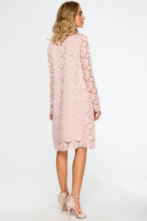 Long Sleeve Powder Pink Lace Dress - So Chic Boutique