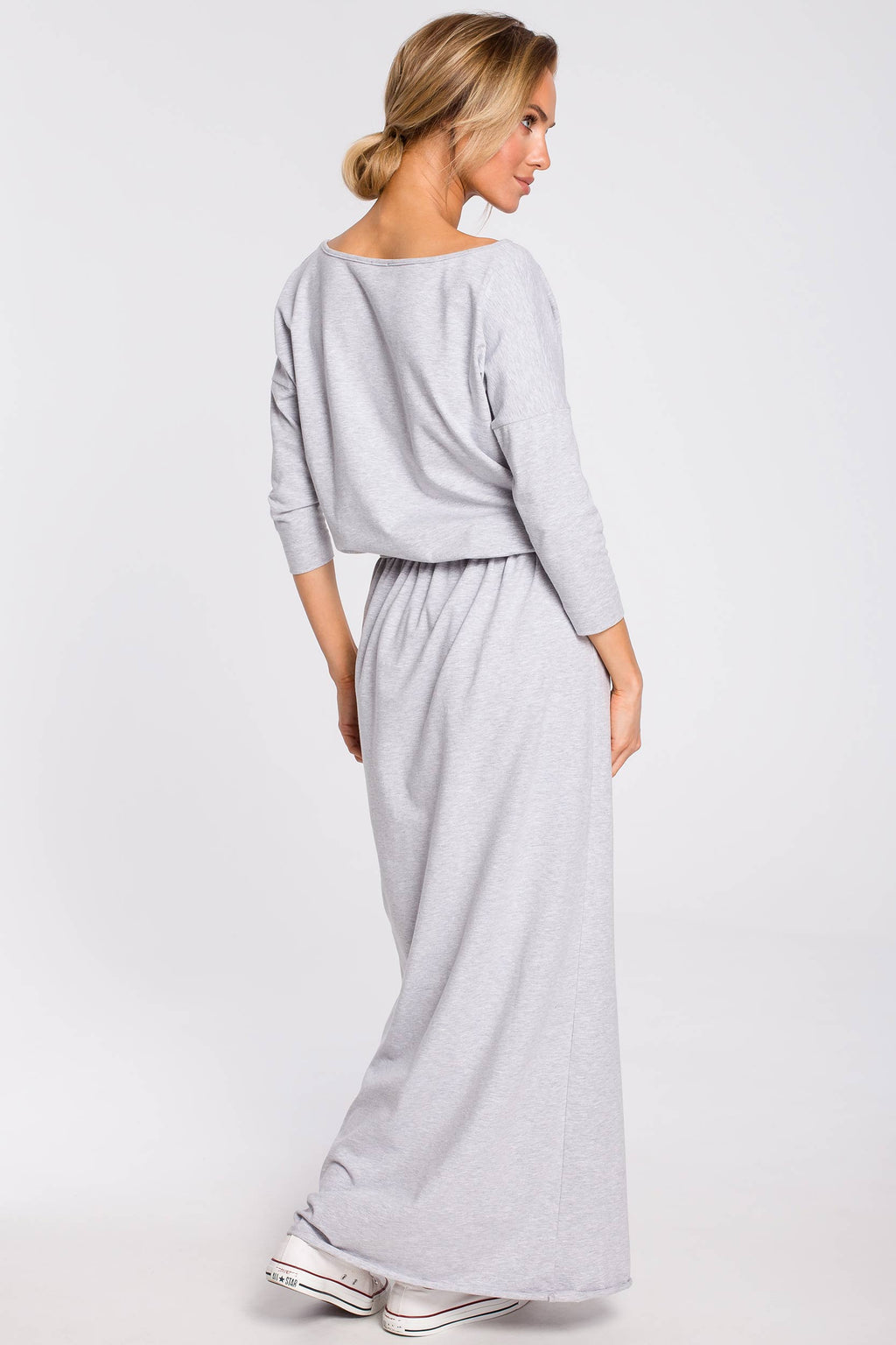 Maxi Grey Blouson Cotton Dress With Sewn In Belt