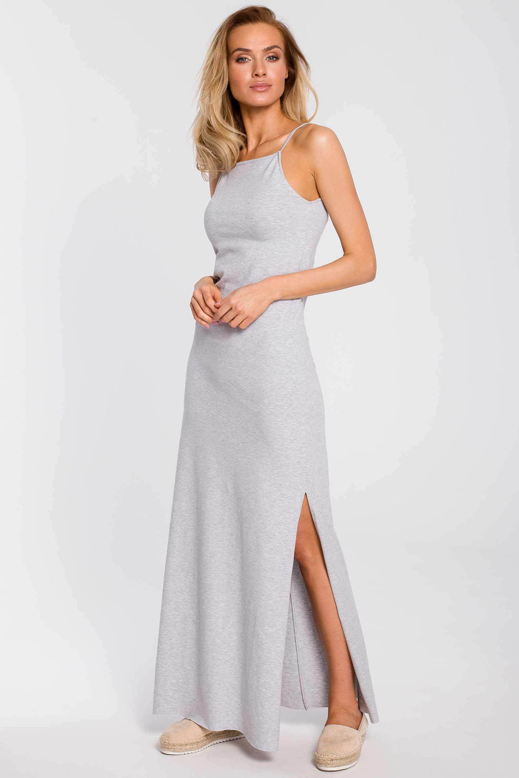 Maxi Grey Cotton Dress With Spaghetti Straps And A Side Slit