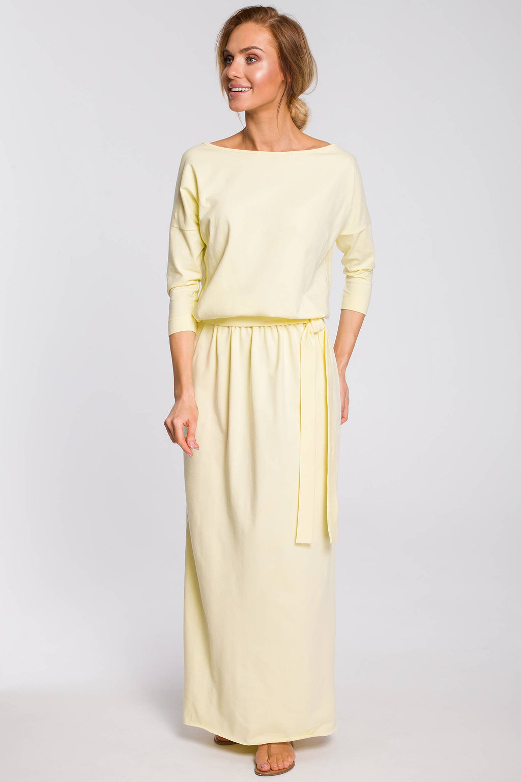 Maxi Yellow Blouson Cotton Dress With Sewn In Belt