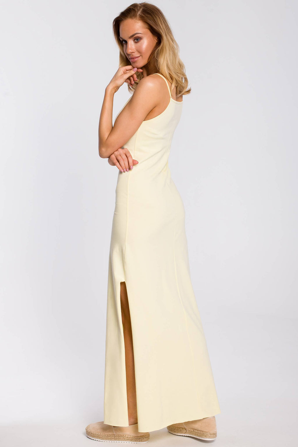 Maxi Yellow Cotton Dress With Spaghetti Straps And A Side Slit