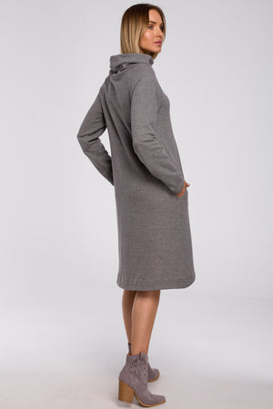 Midi Asymmetric Grey Dress With A Turtleneck - So Chic Boutique