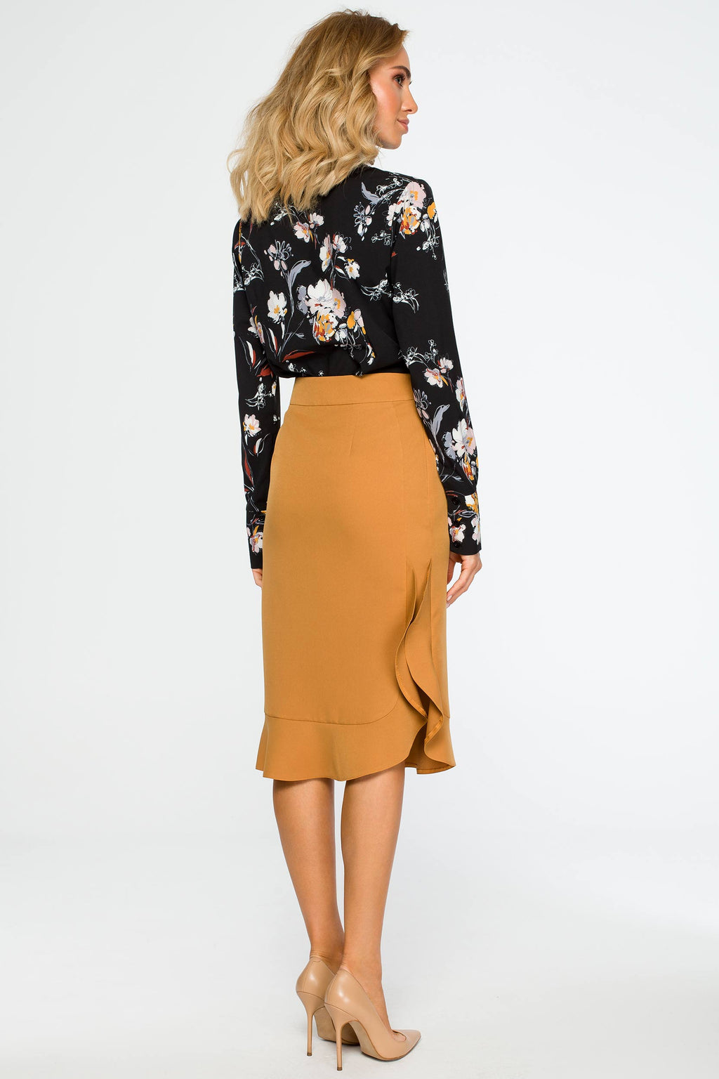 Midi Cinnamon Ruffled Skirt