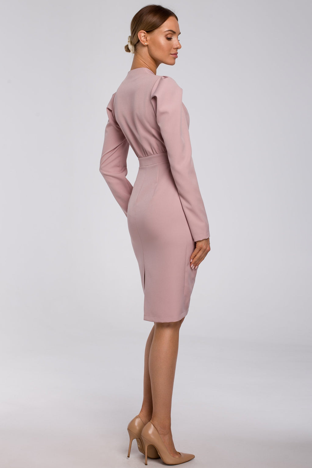 Midi Powder Pink Dress With Gathered Front - So Chic Boutique
