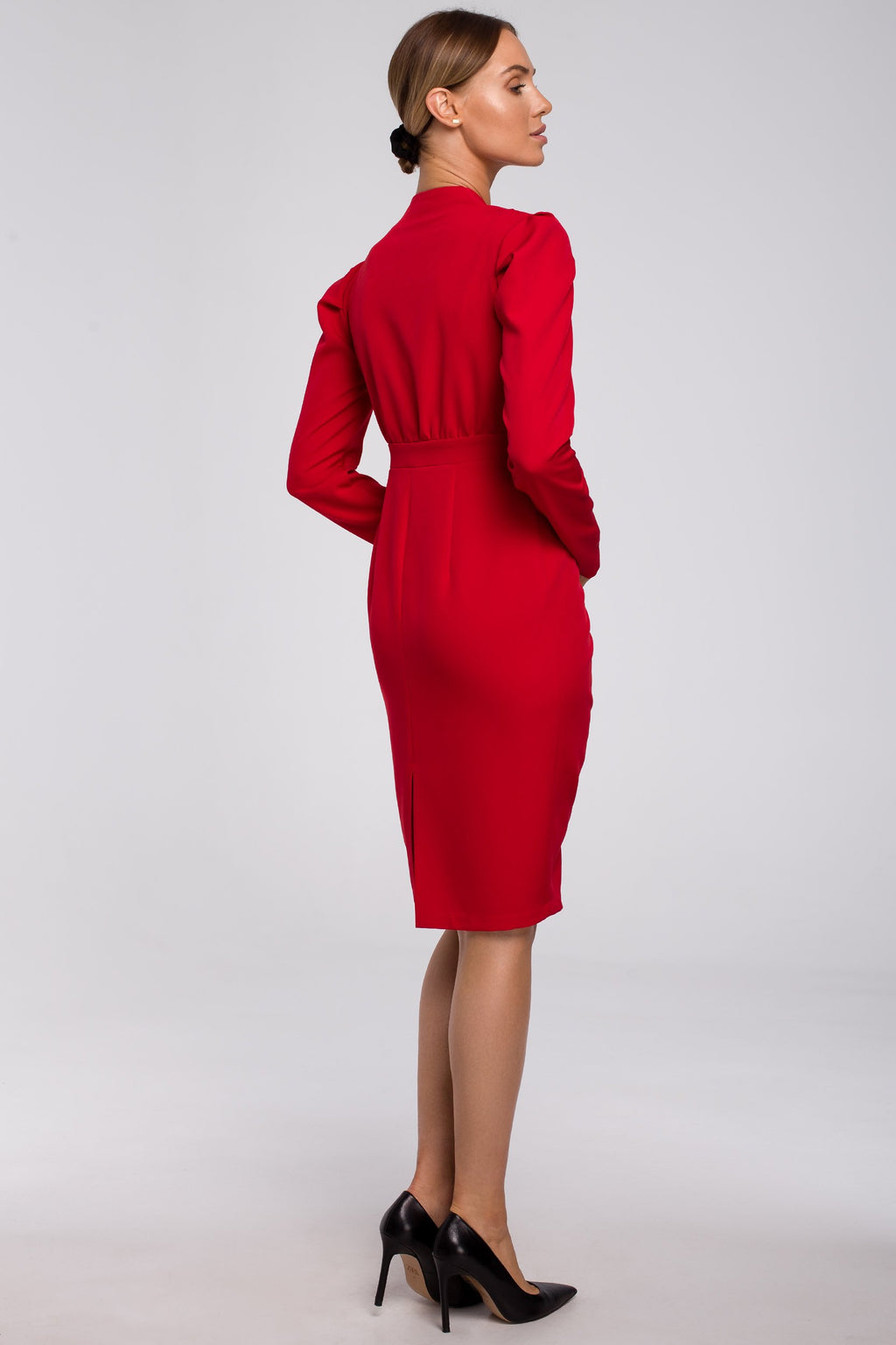 Midi Red Dress With Gathered Front - So Chic Boutique