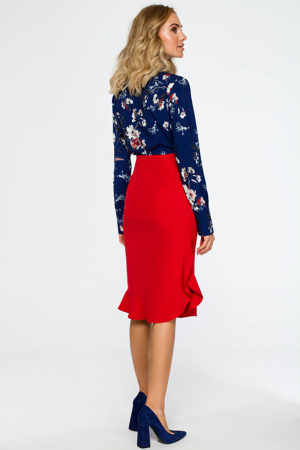 Midi Red Ruffled Skirt