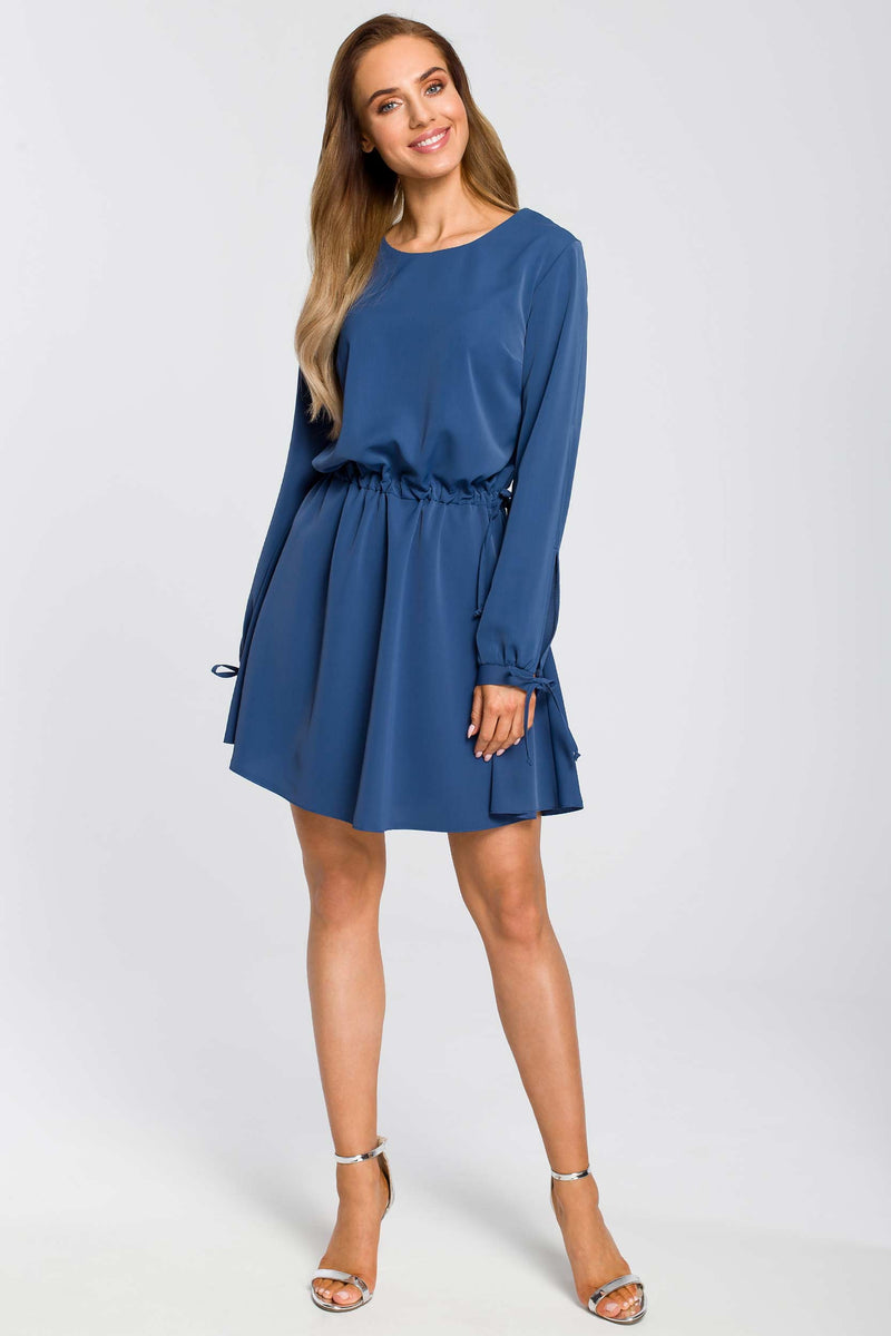 Mini Blue Dress With Split Sleeves - So Chic Boutique