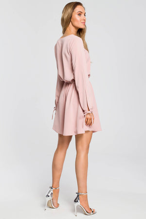 Mini Powder Pink Dress With Split Sleeves - So Chic Boutique