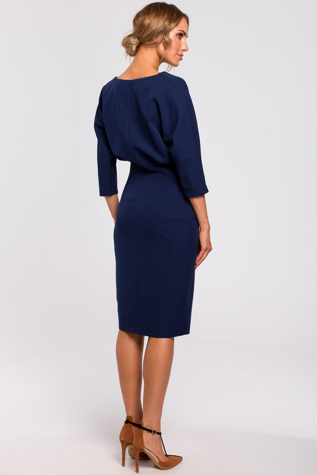 Navy Blue Batwing Top Pencil Dress - So Chic Boutique