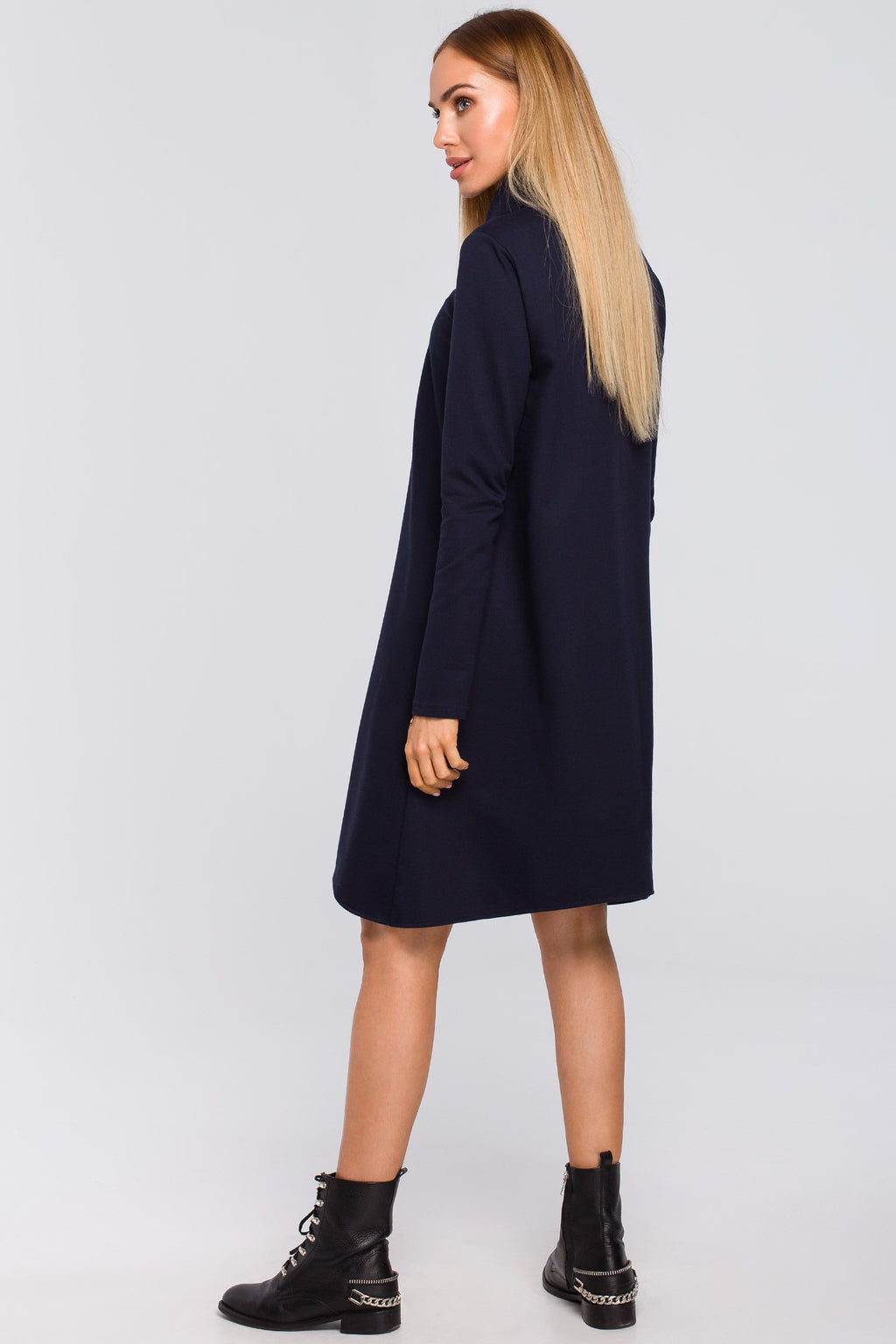 Navy Blue Cotton Turtleneck Trapeze Dress - So Chic Boutique