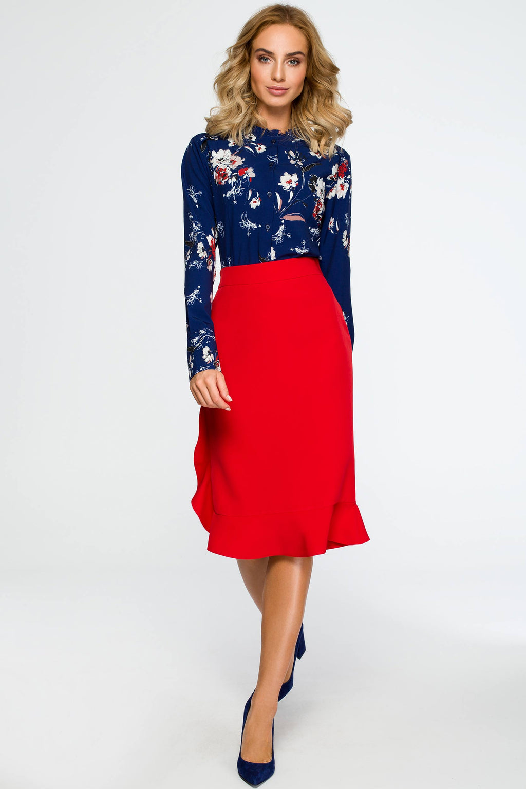 Navy Blue Floral Ruffled Neck Shirt - So Chic Boutique