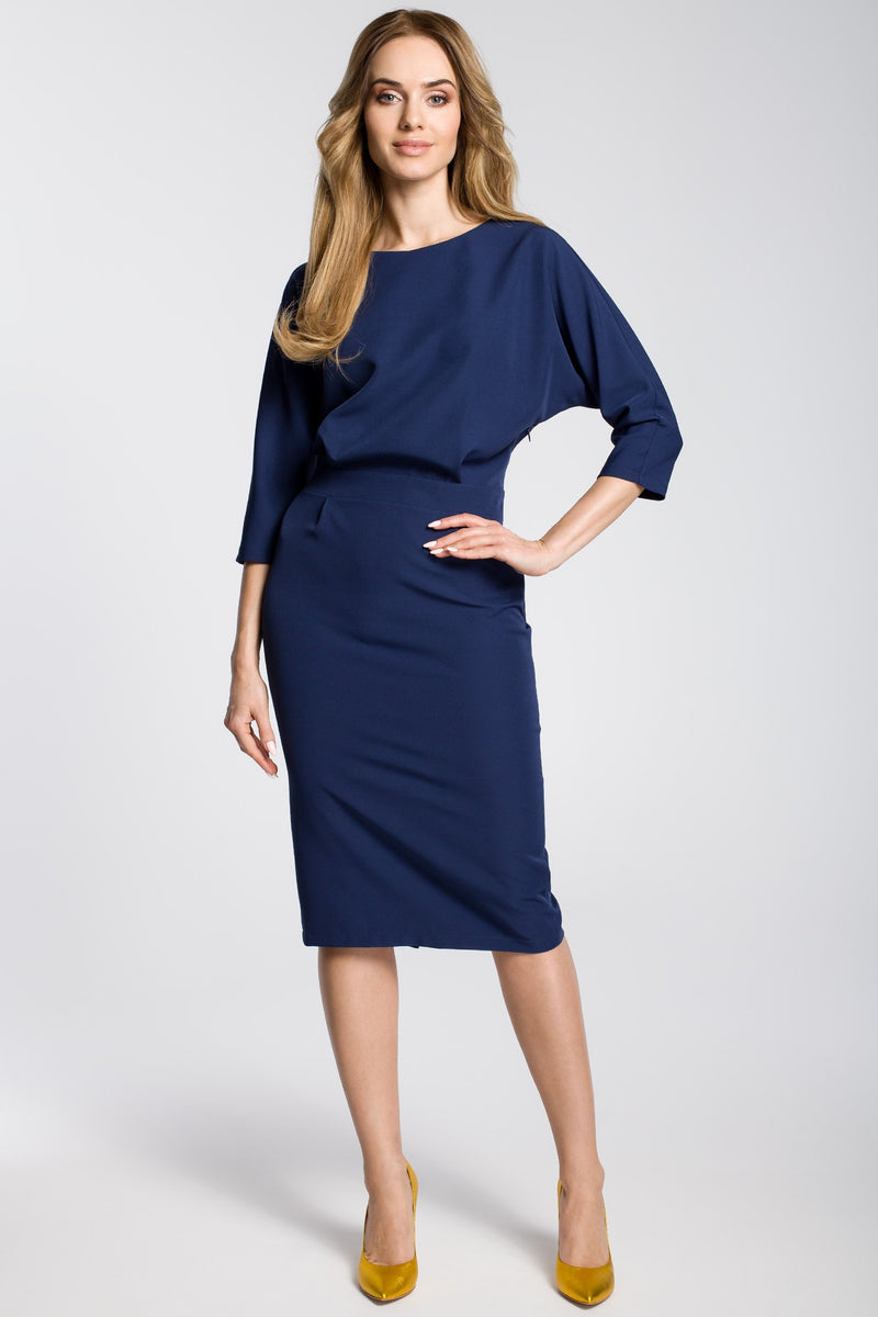 Navy Blue Midi Dress With Loose Fitting Top - So Chic Boutique