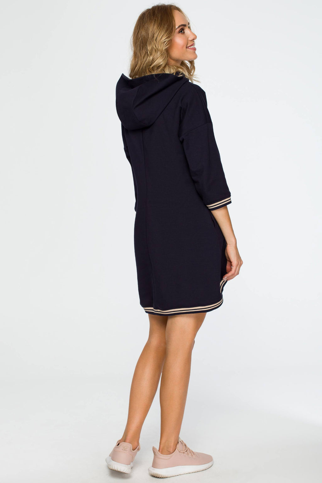 Navy Blue Tunic Hooded Dress With Contrast Details