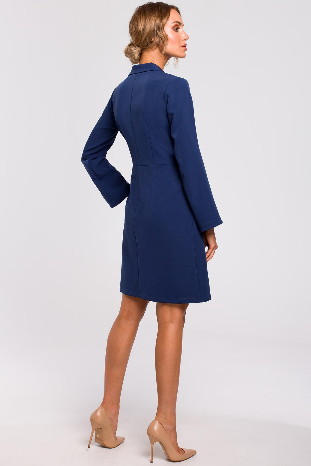 Navy Blue Wrap Blazer Dress With Wide Sleeves