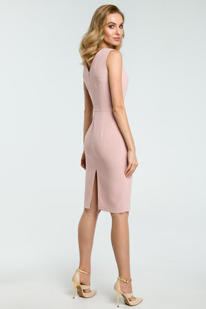 Powder Pink Cocktail Pencil Dress With Asymmetric Neckline - So Chic Boutique