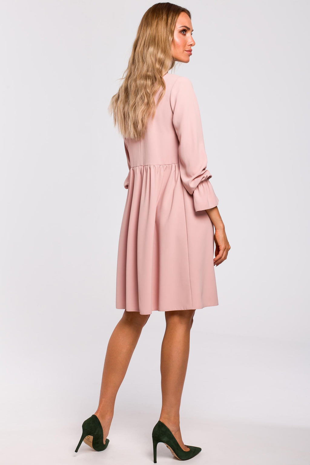 Powder Pink Loose Dress With Tied Bell Sleeves - So Chic Boutique