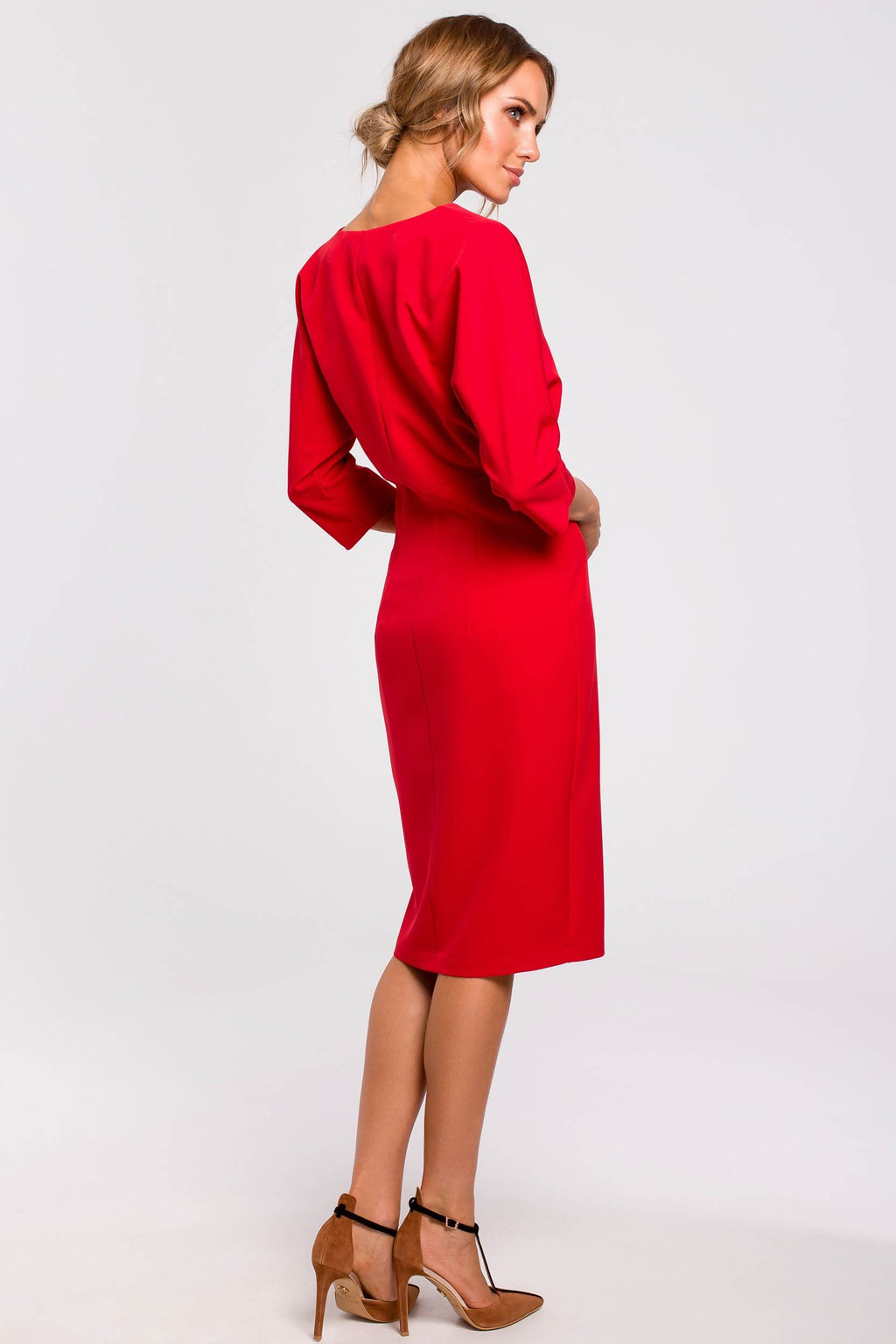 Red Batwing Top Pencil Dress - So Chic Boutique