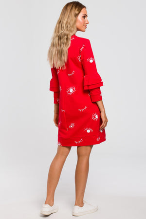 Eye Print A Line Red Dress With Ruffle Sleeves - So Chic Boutique