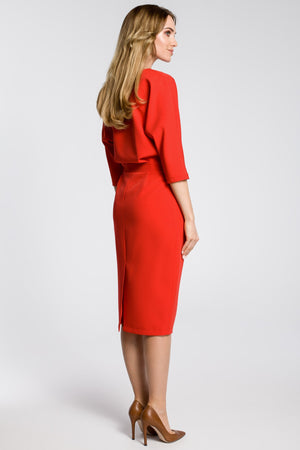 Red Midi Dress With Loose Fitting Top - So Chic Boutique