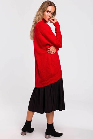 Red Oversize High Low Sweater - So Chic Boutique