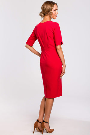 Red Pencil Dress With V Cut Out Neckline - So Chic Boutique