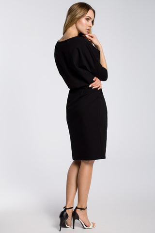 Soft Cotton Midi Black Dress With A Belt