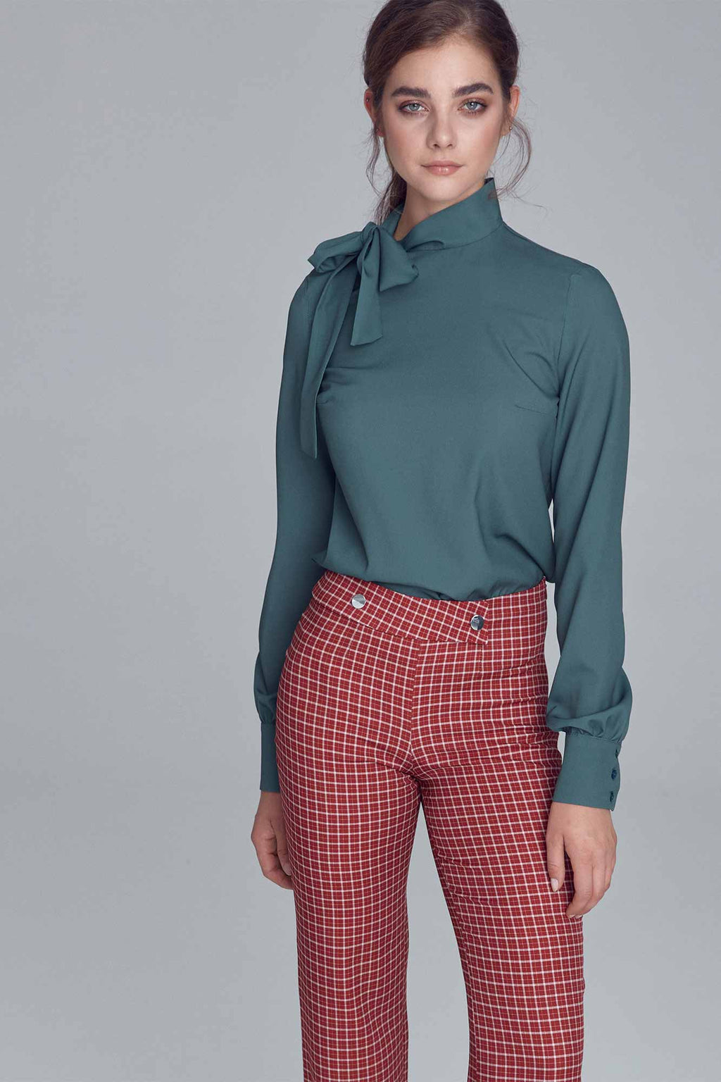 Emerald Blouse With A Side Bow Tie Neck
