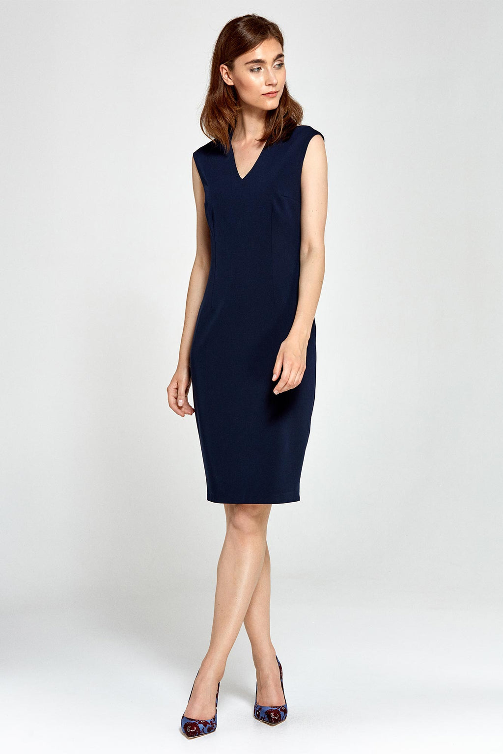 Navy Blue Fitted V Neckline Dress